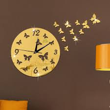 creative butterfly flower 3d wall clock acrylic mirror reflective