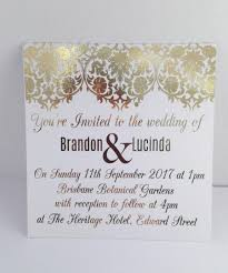 Foil Wedding Invitations Gold Foil Wedding Invitation Set With Rsvp Card Sample Damask