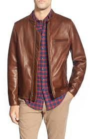 leather moto jacket cafã racer u0027 slim fit waxy leather moto jacket sunset leather