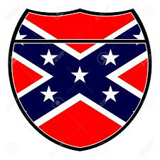 Confederate Flag And Union Flag Confederate Flag In An Interstate Sign Over A White Background