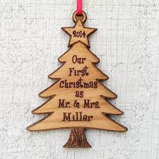 tree ornament as mr and mrs laser wood engraved pe