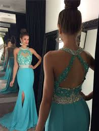 green chiffon prom dresses lace backless slim long prom gowns
