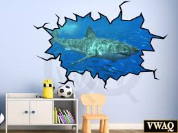 shop animal wall decals vwaq com shark wall decal 3d wall art peel and stick great white shark sticker vwaq wc17