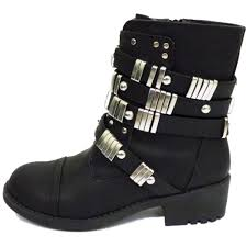 ladies black biker boots ladies black biker ankle zip up buckle cowboy military stud boots