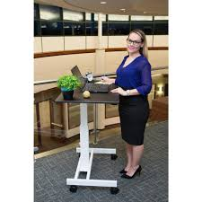luxor black laptop desk with wheels standup sc40 wb the home depot