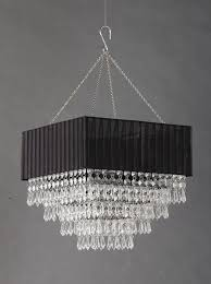 Square Chandelier Black Fabric Square Clear Beaded Chandelier That Bohemian