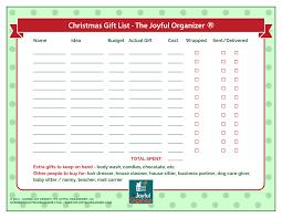 gift buying worksheet the joyful organizer
