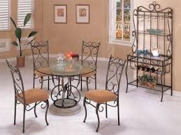 brown wrought dining room sets mixed potted plant