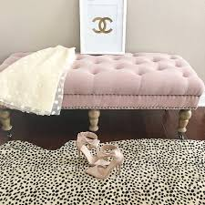 Upholstered Bedroom Bench Home Tour Cheetah Leopard Rug Isabelle Upholstered Bedroom Bench