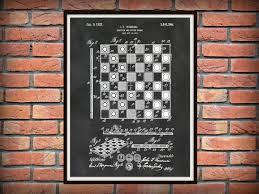 patent 1923 chess board checker board art print poster wall