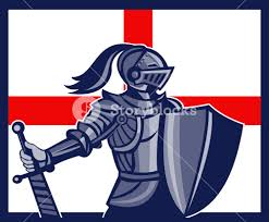 English Flag English Knight Holding Sword England Flag Retro Royalty Free Stock