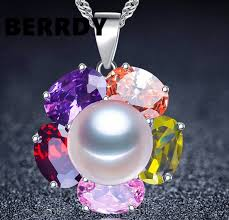 aliexpress pearl necklace images 4 color real freshwater pearl pendant necklace shining colorful jpg
