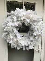 white flocked artificial wreath wreaths by julie
