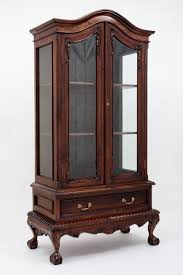 Antique Breakfront China Cabinet by Chippendale China Cabinet Handmade Mahogany Wood Curios