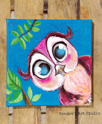 kids art u201ccute little owl u201d u2013 acrylic painting on canvas 7 8 7 8