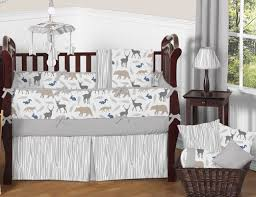 sweet jojo designs grey deer animal outdoor woodland baby boy crib