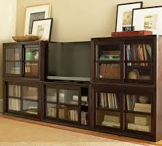 Media Cabinets With Glass Doors Winslow Glass Door Media Suite With Towers Pottery Barn