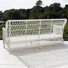 Wicker Outdoor Rocking Chairs Everglades White Resin Wicker Patio Sofa By Lakeview Outdoor Image