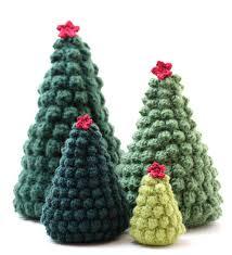 knit christmas crocheted christmas tree ornaments