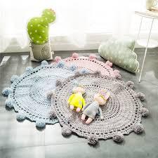 Childrens Wool Rugs Handmade Nordic Carpets Round Mats Floor Mats High Grade Knitted