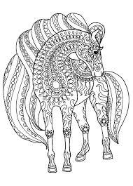 Cheval motifs zentangle simples  Chevaux  Coloriages difficiles