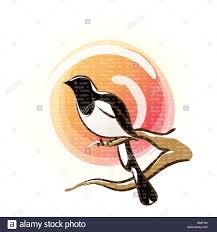 korean new year sun tree branch magpie icon new year