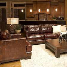 Leather Sofa And Chair Set Emerson Top Grain Leather Sofa And Chairs Set In Saddle Brown