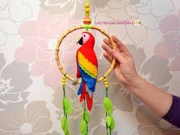parrot home decor hanging parrot macaw felt parrot home decor by ladybugonchamomile