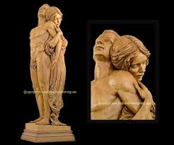 rapture carved wood sculpture basswood by fred zavadil