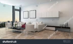architectural interior open concept apartment high stock