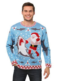 men u0027s santa vs shark ugly christmas sweater