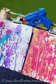 fun art gun painting with kids summer art activities