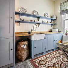 light grey kitchen cabinets with wood countertops 75 beautiful kitchen with blue cabinets and wood countertops