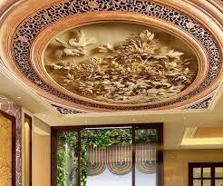 custom 3d ceiling wallpaper carved wood carving wallpaper for