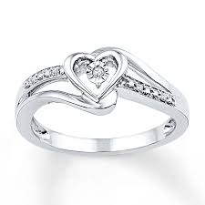 heart ring heart promise ring diamond accents sterling silver