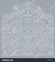 white metal gate forged ornaments on stock vector 725639173