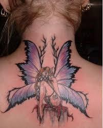black outline small fairy tattoo stencil by darla illara