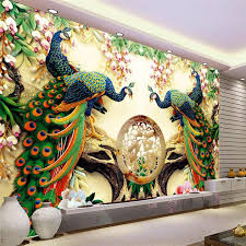 wholesale large painting home decor peacock green branches murales