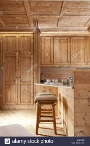 Finished Kitchen Cabinets Natural Wood Finished Alpine Kitchen Cabinets And Table And Chairs