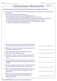 venn diagram word problems worksheets three sets