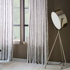 Pewter Curtains Watercolor Stripe Printed Curtain Pewter West Elm
