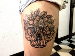 skull and mandala thigh tattoo by aireelle on deviantart