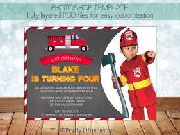 firefighter fireman birthday invitation template photoshop