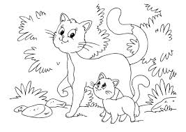 coloring page cat and kitten img 22643