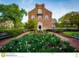 garden and latrobe hall at johns hopkins university baltimore