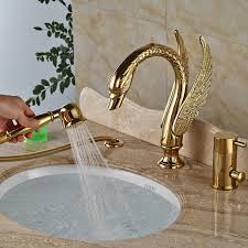 pull out bathtub faucet luxury gold bath faucet swan bathtub mixer taps with pull out hand