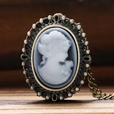 ladies pocket watch necklace images Antique style bronze white lady beauty quartz pocket watch jpg