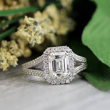 vintage emerald cut engagement rings auriya 18k white gold 2 1 2ct tdw vintage emerald cut diamond halo