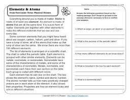 elements and atoms 3rd grade reading comprehension worksheet