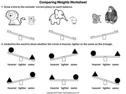 comparing weights animated powerpoint and worksheet by teacher